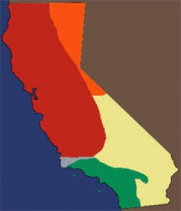 GREEN area shows the range of the Southern Pacific Rattler in The Golden State.