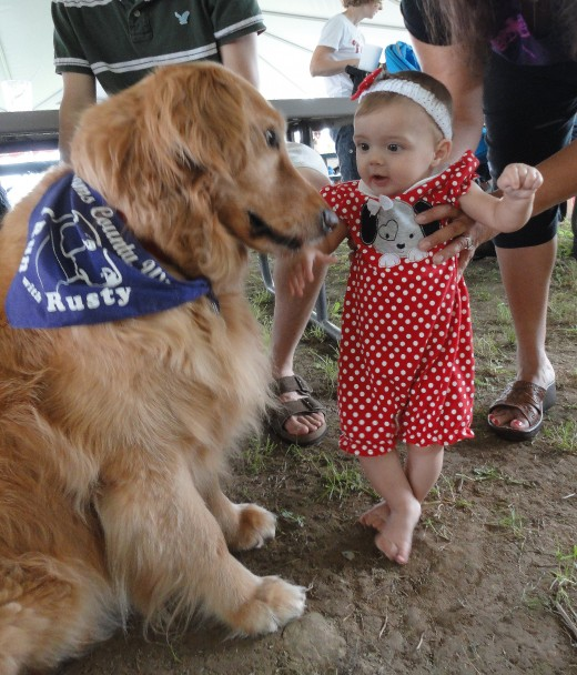Image of 6-month-old Shelby Lorenzano of Littlestown, Pa., in awe with Rusty, the winery's mascot.