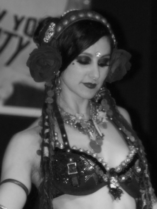 Close up of a belly dance bra