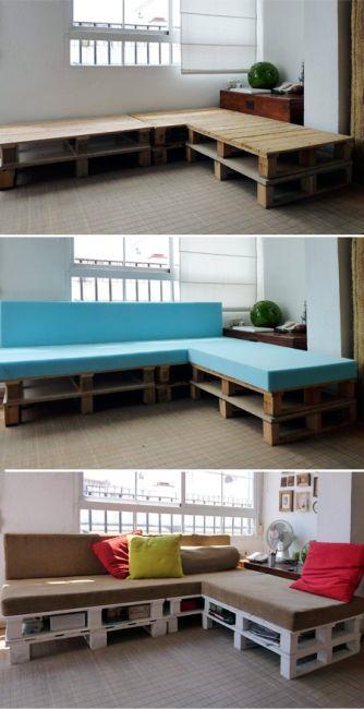 Crates used as a sofa base