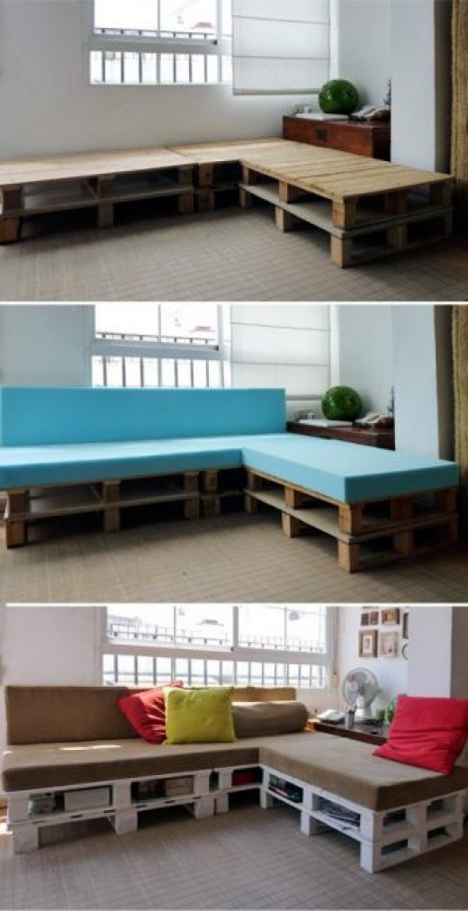 Crates used as a sofa base