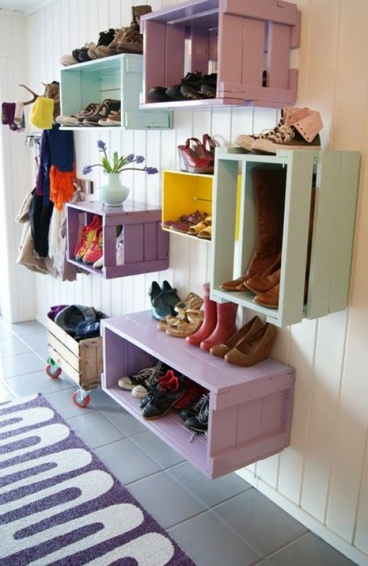 Crates used as shoes storage