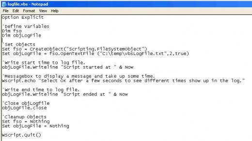vbscript logging code