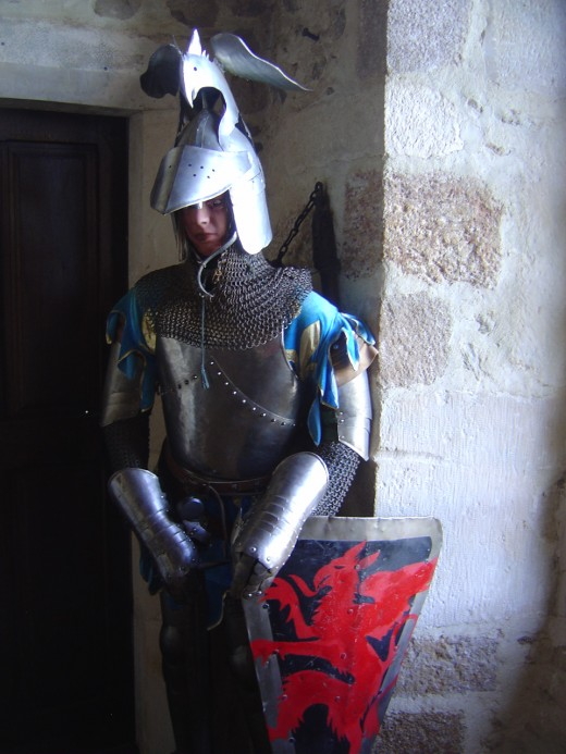 A figure wearing a suit of armour is fun for the kids