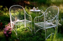 Romantic seating area in the garden.
