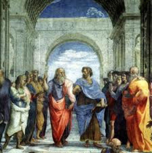 Plato and Aristotle conversing in Athens.