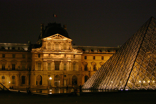 The Louvre at night.