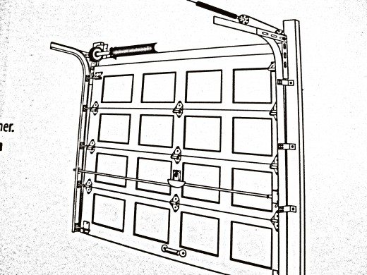 Fig 7. Completed project with door down showing location pulley wheels, cable, and spring