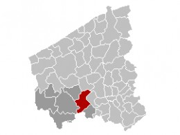 Map location of Zonnebeke, West Flanders