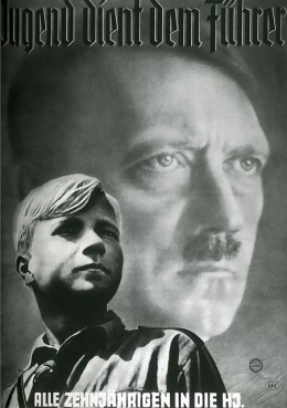 A propaganda poster from the World War II era.