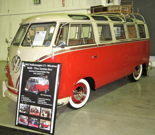 1965 Volkswagon Convertible Samba Bus at the Barrett-Jackson Auto Auction in Orange County, CA.