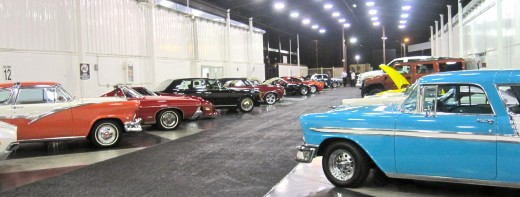 Cars up for auction at the Barrett-Jackson Auto Auction in Orange County, CA.