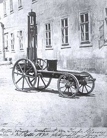 The first gas powered vehicle.