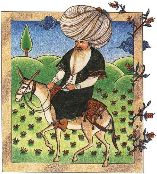 A 17th Century miniature of Nasreddin, currently in the Topkapi Palace Museum Library.