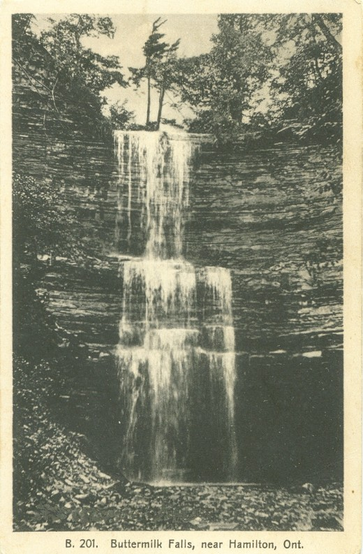 1936 Postcard Showing Buttermilk Falls.