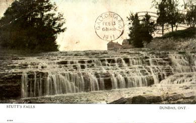 1911 Postcard showing Stutt's Falls. Now it also is called Darnley Cascade.