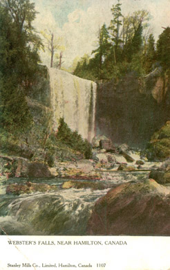 1905 Postcard showing Webster's Falls.