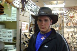 Tristan trying on an Indian Jones hat
