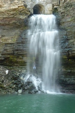 Chedoke Falls as it looks today. Note the person standing behind the waterfall.