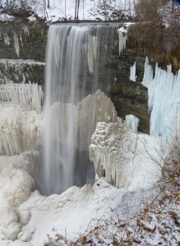 Tews Falls as it looks today in winter.