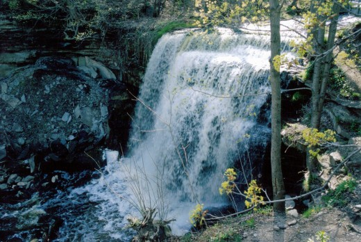Great Falls as it looks today. Other names for this waterfall have included Grindstone Falls, The Falls, Waterdown Falls, Smokey Hollow Falls and Palmers Falls.