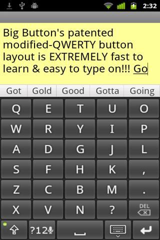 Big Buttons Keyboard, modified QWERTY layout