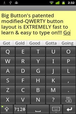 Big Buttons Keyboard, modified QWERTY layout