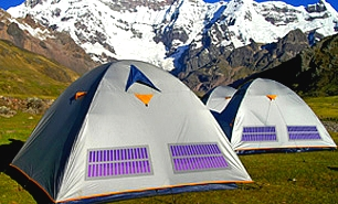 Flexible solar films added to tents, clothing and backpacks