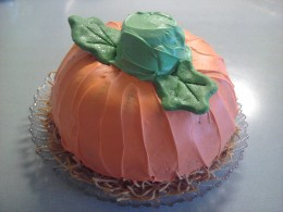 Completed, this easy to make pumpkin cake is a hit with young and old alike!