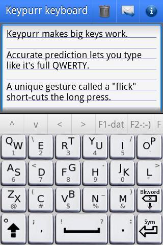 Keypurr Keyboard, three things per key, select by slide up, tap, or slide-down on each key.