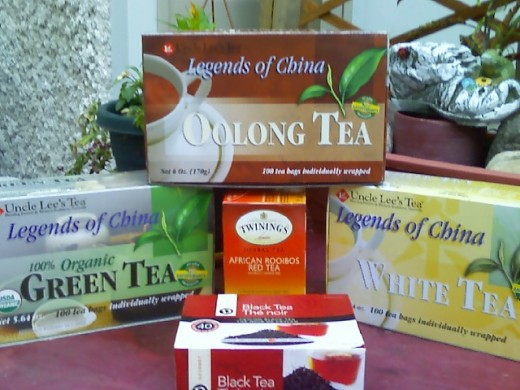 These are the 5 teas that are needed in making this ice tea. Oolong, White, Green, Red, and Black Ceylon.