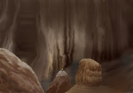 Author's painting of one section of the caves