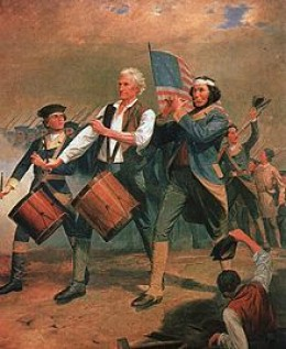 Originally entitled Yankee Doodle, this is one of several versions of a scene painted by A. M. Willard that came to be known as The Spirit of '76. Often imitated or parodied, it is a familiar symbol of American patriotism