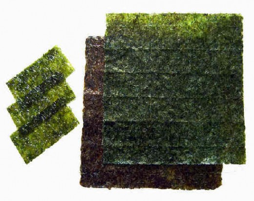 Nori The black wrapper we often see on sushi rolls is a dried seaweed
