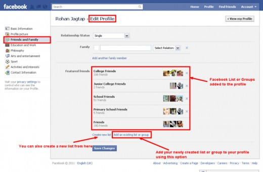 Add Facebook List or Group to the Facebook Profile
