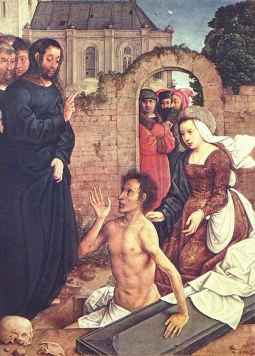Jesus Wept and Lazarus - Die Auferweckung des Lazarus by Juan de Flandes