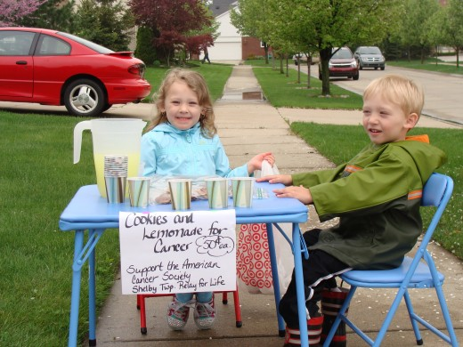 Grace and Alex are raising money for our Relay for Life by having a lemonade stand.