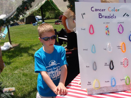 My nephew Marco is selling bracelets that we made to raise more money for the American Cancer Society.