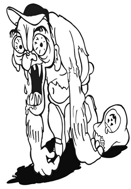Halloween Zombie Colouring Pictures to Print-and-Colour