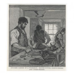 Tailor shop, 1890 (although you can't see it well, the iron is resting on a tailor's ham)