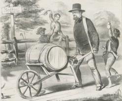 Here's a guy wheeling a barrel in a wheelbarrow. Also from Wikimedia