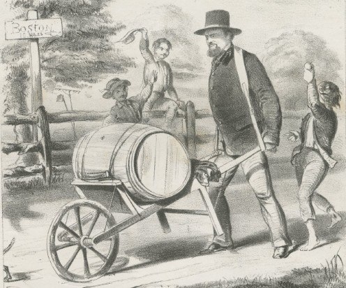 Here's a guy wheeling a barrel in a wheelbarrow. Also from Wikimedia
