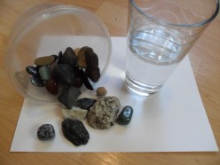 Explore your natural resources! Collect some rocks, and put them in a clear container. Have a half-full bottle of water. Collect a chunk of tree bark, and few twigs. Children will have lots of fun making noise with these objects.