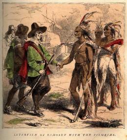 Pilgrims and Wampanoag Indians
