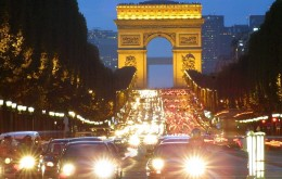 View of the Arc de Triomphe from the Champs Elysees