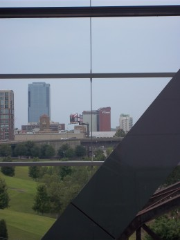 The Little Rock skyline from the Clinton Presidential center