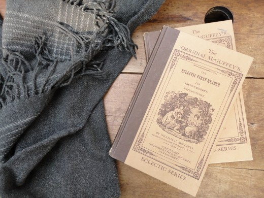 Image of McGuffey Readers and authentic child's shawl worn during the Civil War.