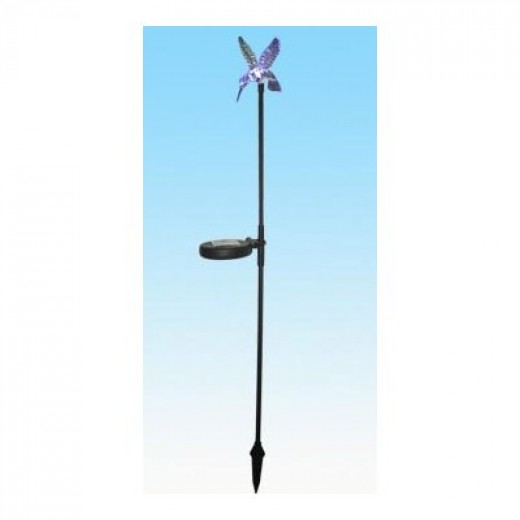 The hummingbird solar stake light comes with a solar panel and a stake.