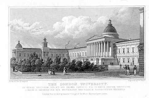 """""""The London University"""" as drawn by Thomas Hosmer Shepherd and published in 1827/28."""