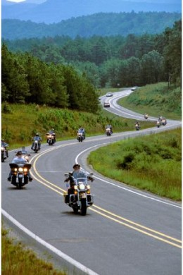 Typical 'staggered' motorcycle riding formation.